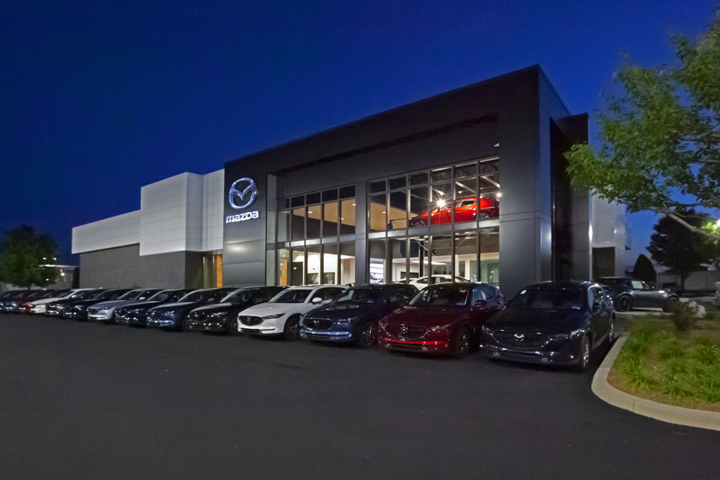 Lancaster Mazda exterior at night